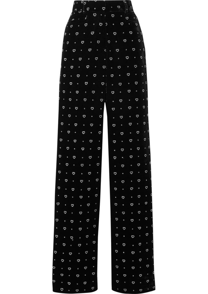Paul & Joe Glittered Velvet Straight-leg Pants