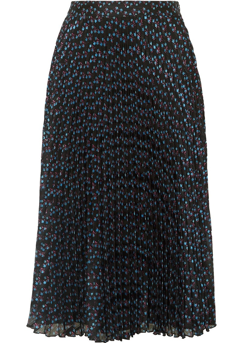 Paul & Joe Ksolare Pleated Metallic Floral-print Chiffon-jacquard Skirt
