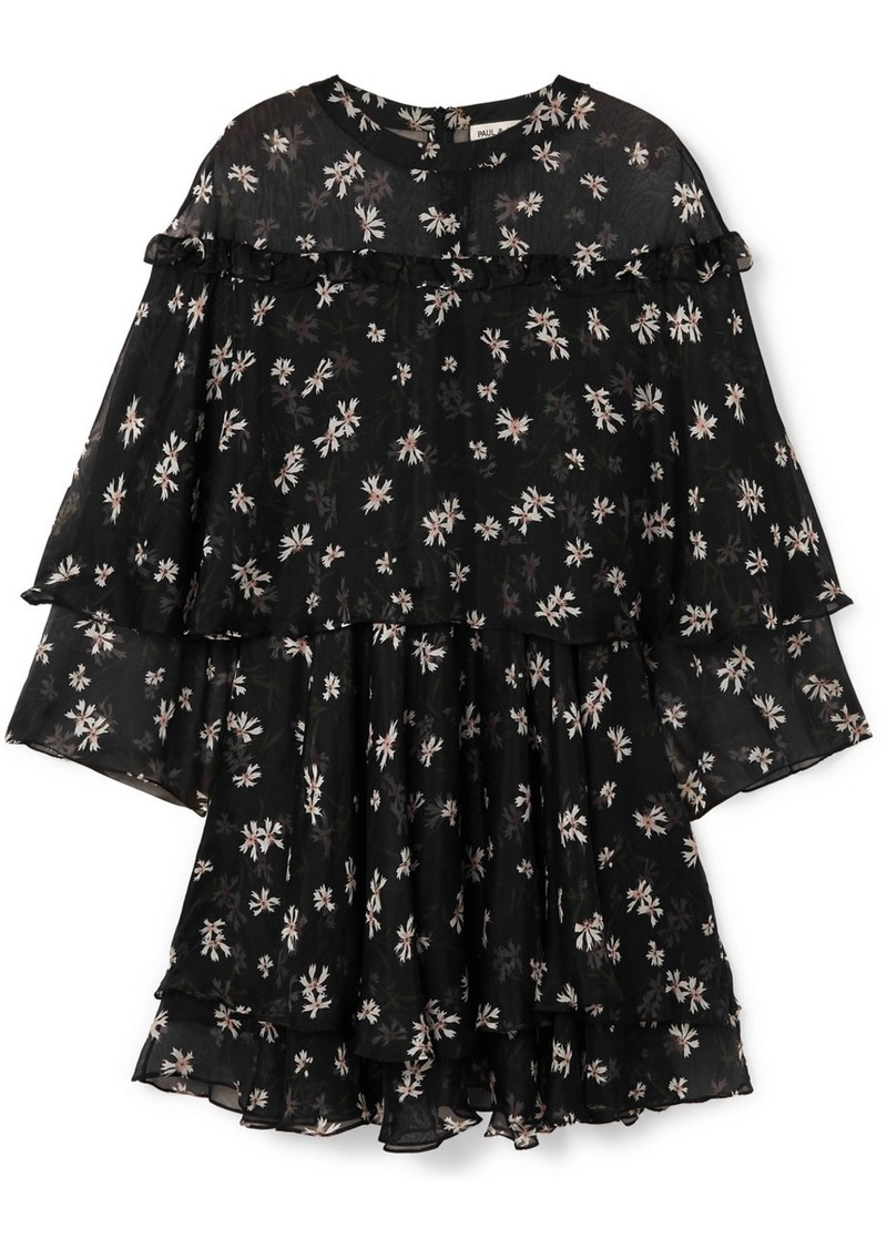 Paul & Joe Layered Floral-print Silk-chiffon Mini Dress