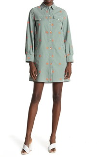 Paul & Joe Lucia Floral Embroidered Gingham Shirt Dress