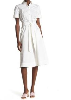Paul & Joe Octavia Tie Waist Poplin Midi Shirt Dress