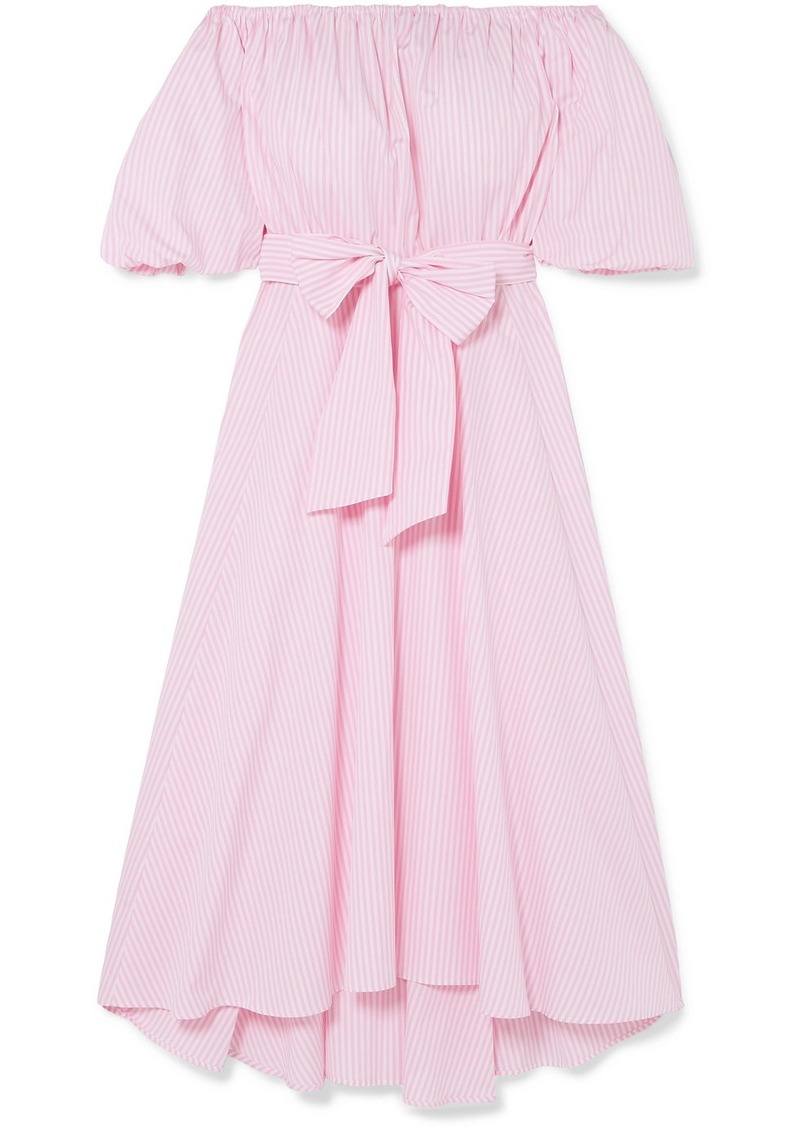 Paul & Joe Off-the-shoulder Belted Striped Cotton-poplin Midi Dress