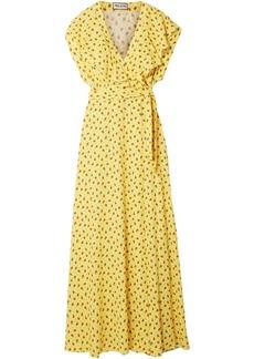 Paul & Joe Woman Amalia Ruffled Floral-print Crepe Wrap Maxi Dress Yellow