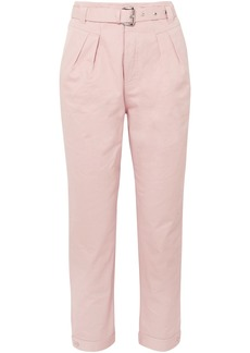 Paul & Joe Woman Arsenios Cropped Belted Cotton-twill Tapered Pants Baby Pink