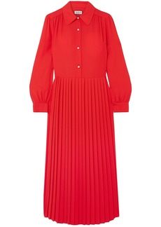 Paul & Joe Woman Barbara Pleated Crepe Midi Dress Tomato Red