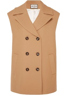 Paul & Joe Woman Baron Oversized Double-breasted Wool And Cotton-blend Vest Sand