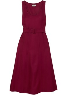 Paul & Joe Woman Belted Wool-blend Twill Midi Dress Burgundy