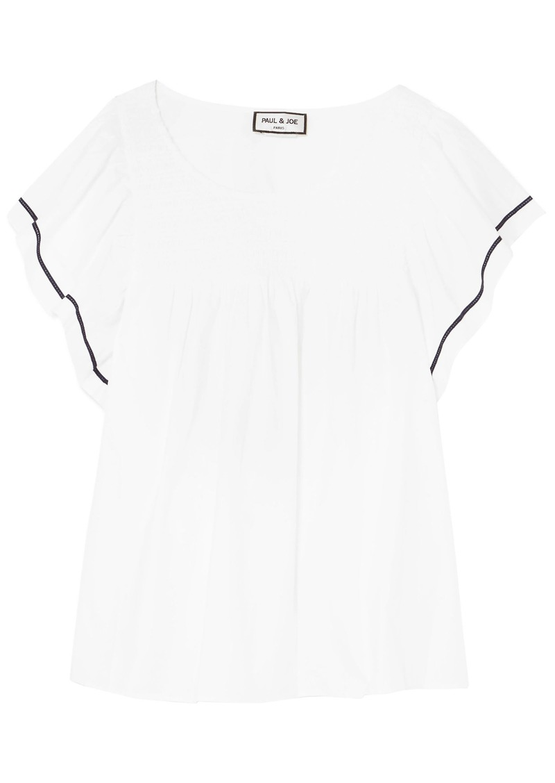 Paul & Joe Woman Crochet-trimmed Cotton-poplin Top White