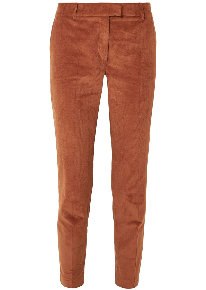 Paul & Joe Woman Cropped Stretch-cotton Corduroy Tapered Pants Brown