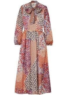 Paul & Joe Woman Dalida Pussy-bow Floral-print Silk-chiffon Midi Dress Brick