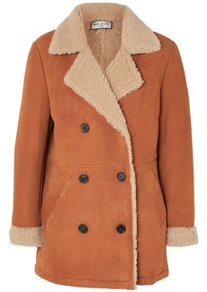 Paul & Joe Woman Double-breasted Faux Shearling-lined Suede Jacket Brown