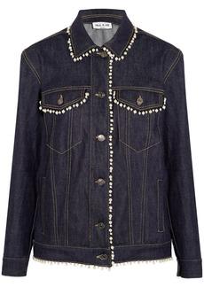 Paul & Joe Woman Floraison Faux Pearl-trimmed Denim Jacket Dark Denim