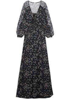 Paul & Joe Woman Floral-print Silk-georgette Gown Navy