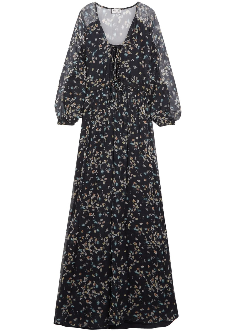 Paul & Joe Woman Floral-print Silk-georgette Gown Navy