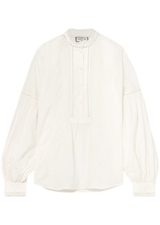 Paul & Joe Woman Lace-trimmed Pintucked Cotton-voile Blouse White