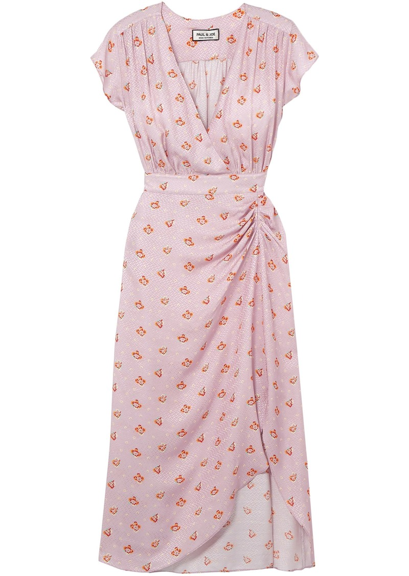 Paul & Joe Woman Marinette Gathered Floral-print Satin-jacquard Dress Baby Pink