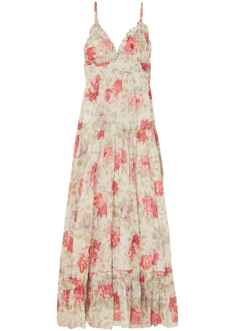 Paul & Joe Woman Ruffle-trimmed Floral-print Cotton-gauze Maxi Dress Off-white