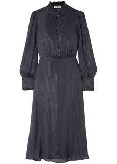 Paul & Joe Woman Ruffle-trimmed Metallic Striped Silk-blend Chiffon Midi Dress Navy
