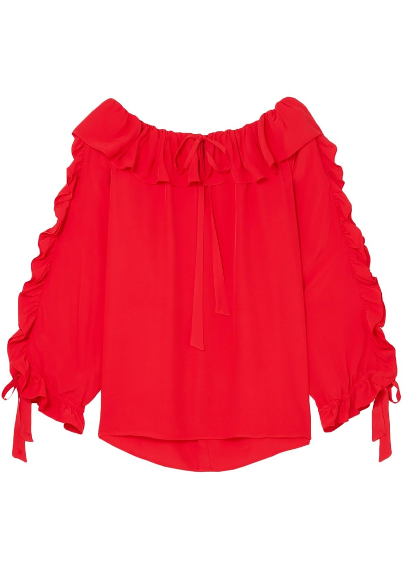 Paul & Joe Woman Ruffled Crepe Blouse Red