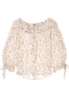 Paul & Joe Woman Ruffled Floral-print Silk-georgette Blouse Off-white