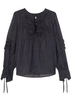 Paul & Joe Woman Sandy Ruffled Metallic Pinstriped Silk-blend Chiffon Blouse Midnight Blue