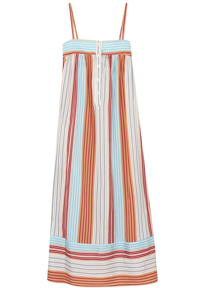 Paul & Joe Woman Striped Canvas Midi Dress Multicolor