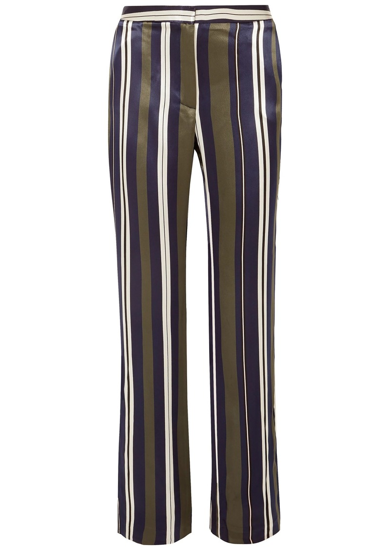 Paul & Joe Woman Striped Satin-twill Straight-leg Pants Multicolor