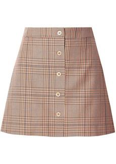 Paul & Joe Woman Tartan Checked Cotton-twill Mini Skirt Orange