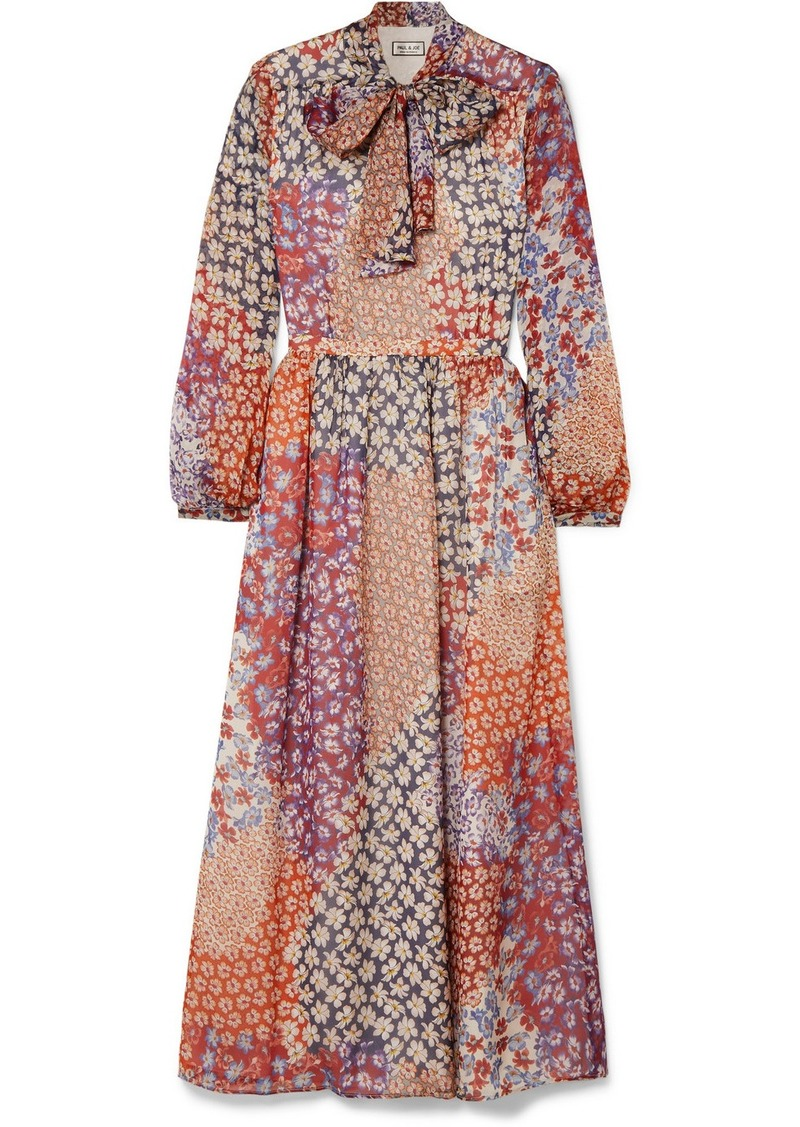 Paul & Joe Pussy-bow Floral-print Silk-chiffon Midi Dress