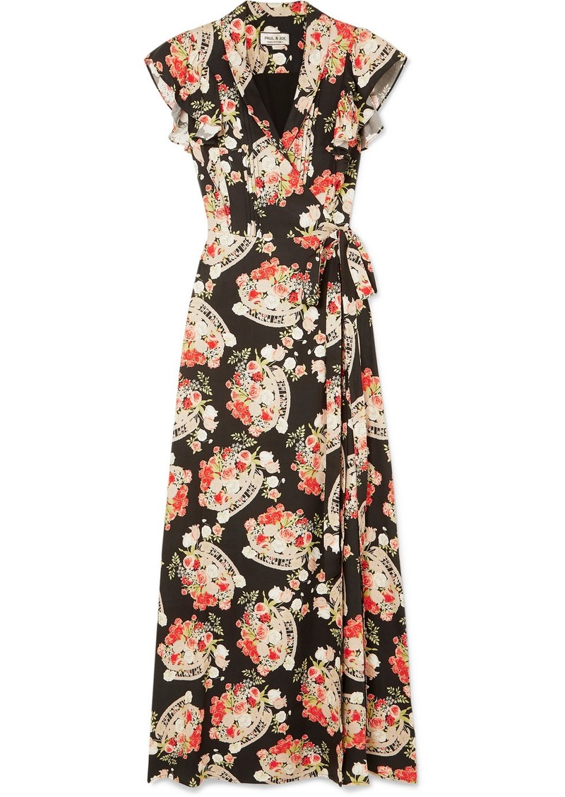 Paul & Joe Ruffled Floral-print Crepe Wrap Midi Dress