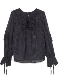 Paul & Joe Ruffled Metallic Striped Silk-blend Chiffon Blouse