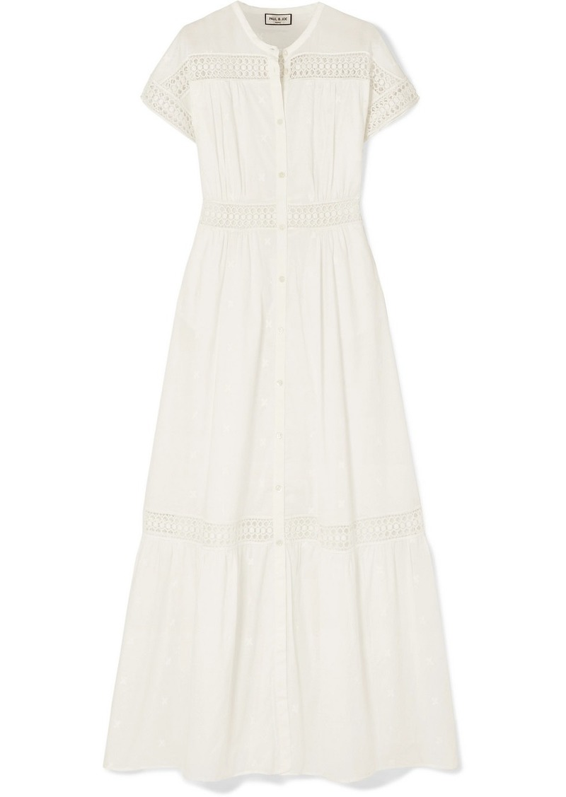 Paul & Joe Salerna Crochet-paneled Embroidered Cotton Maxi Dress