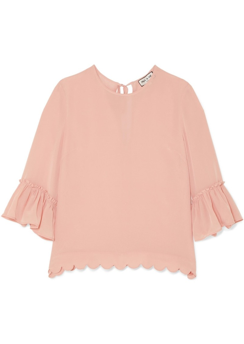 Paul & Joe Scalloped Silk Crepe De Chine Blouse