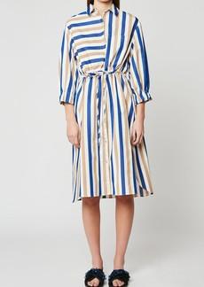 Paul & Joe Striped Poplin Midi Shirt Dress