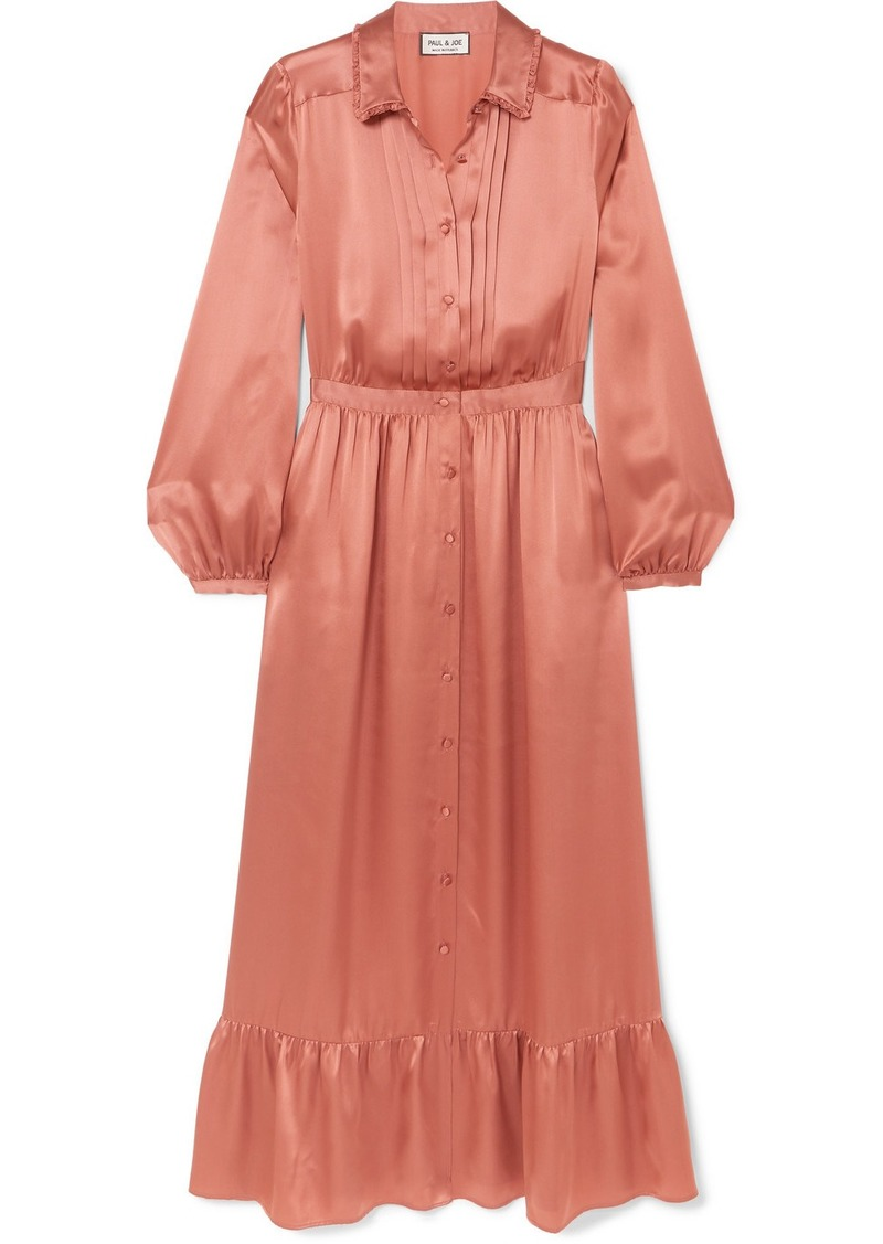 Paul & Joe Tiered Pleated Silk-satin Midi Dress
