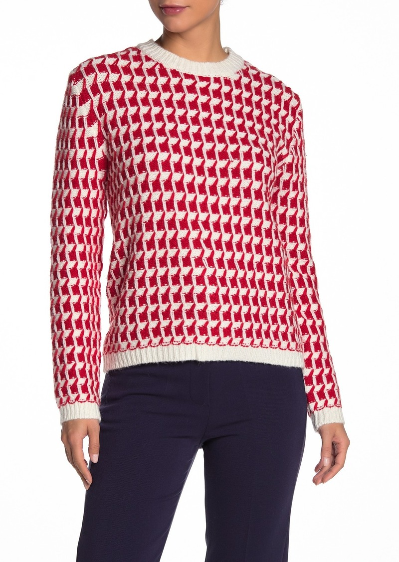 Paul & Joe Two-Tone Fancy Stitch Wool Blend Sweater