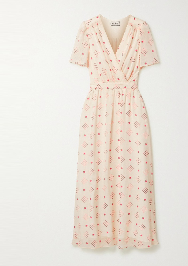 Paul & Joe Wrap-effect Floral-print Chiffon Midi Dress