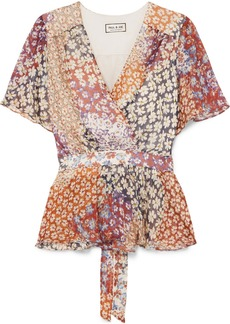 Paul & Joe Wrap-effect Floral-print Silk-chiffon Top