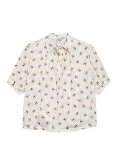 Paul & Joe Youri Cat Print Short Sleeve Blouse