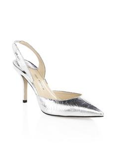 Paul Andrew Metallic Leather Slingback Heels