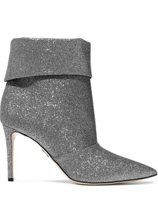 Paul Andrew Woman Banner 85 Glittered Canvas Ankle Boots Silver
