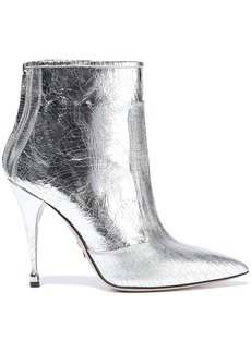 Paul Andrew Woman Citra 105 Metallic Cracked-leather Ankle Boots Silver