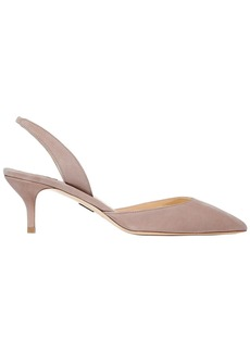 Paul Andrew Woman Rhea 55 Suede Slingback Pumps Taupe