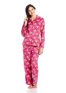 Paul Frank Junior's Winter Sparkle Julius Head PRT Notch Collar Pajama Set Turquoise Multi
