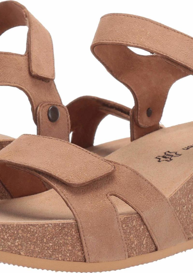 Paul Green Women's April SNDL Wedge Sandal nut Sparkle Suede  M US