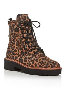 Paul Green Women's Boone Leopard-Print Combat Boots