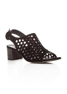 Paul Green Women's Rae Perforated Suede Block Heel Sandals