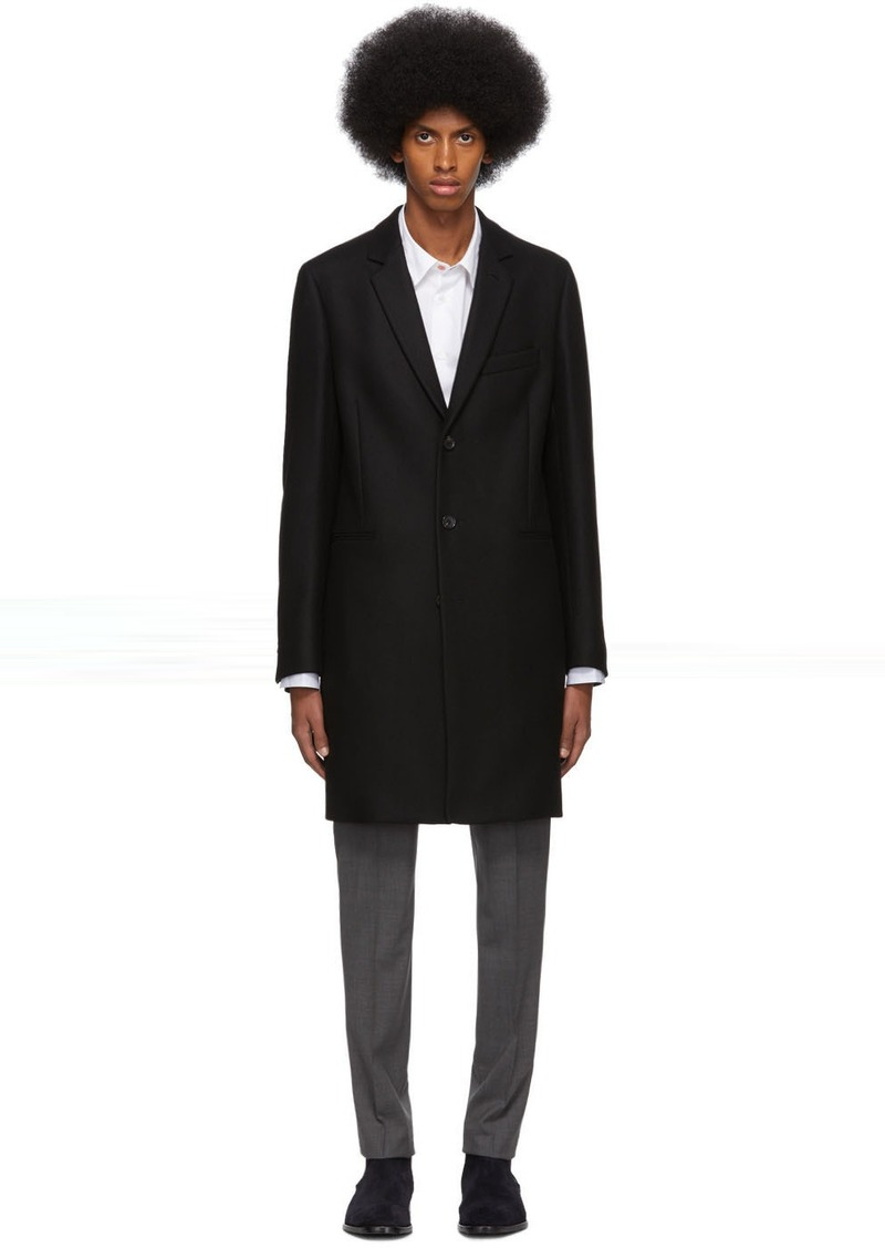 Paul Smith Black Wool Single-Breasted Overcoat