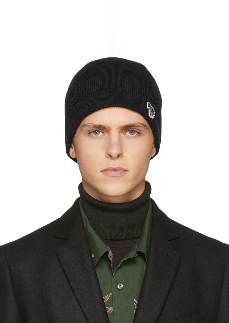 Paul Smith Black Wool Zebra Beanie