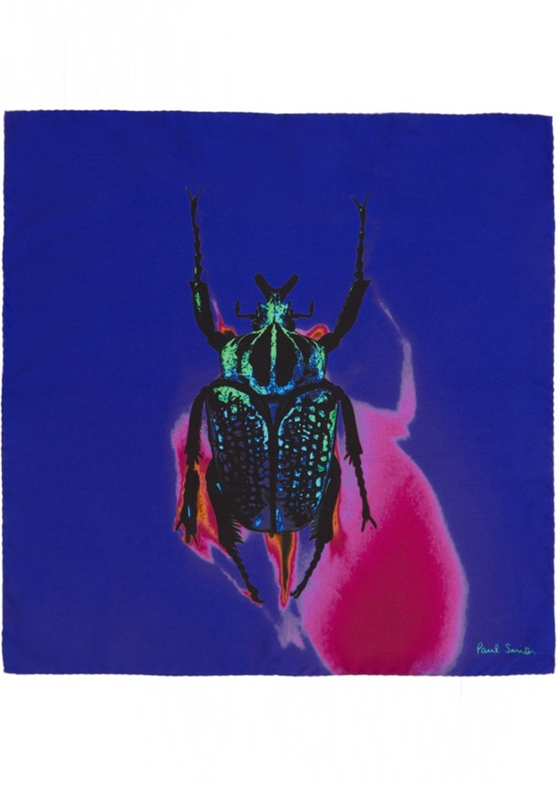 Paul Smith Blue Silk Photographic Beetle Pocket Square